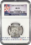 2008-W Burnished $50 Platinum Eagle NGC MS70 Mint State 70 ***TOP 50 LABEL***