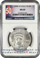 2008-W Burnished $100 Platinum Eagle NGC MS69 Mint State 69 ***TOP 50 LABEL***