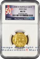 2008-W $10 Gold Buffalo NGC MS70 Mint State 70 ***TOP 50 LABEL***