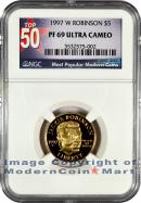1997-W Jackie Robinson $5 Gold NGC PF69 UC Proof 69 Ultra Cameo ***TOP 50 LABEL***