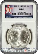 2001-D Buffalo S$1 Dollar NGC MS69 Mint State 69 ***TOP 50 LABEL***