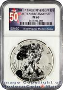 2011-P 25th Anniversary Silver Eagle FROM (A25) SET NGC Rev PF69 Reverse Proof 69 ***TOP 50 LABEL***
