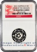 2012 Australia R.A.M. Silver Lunar Year of the Dragon $1 NGC PF70 UC Proof 70 Ultra Cameo ***AS SEEN ON MCTV***