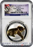 2012-P Australia 24K Gold Gilt Gilded 1 Oz Silver Koala $1 NGC MS70 ER  Mint State 70 Early Releases ***EXCLUSIVE LABEL***
