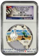 2012-P Australia 1 Oz Silver Map Shaped Series - Emu $1 NGC MS70 ER Mint State 70 Early Releases ***EXCLUSIVE LABEL***