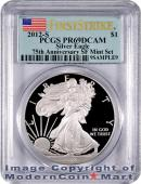 2012-S 75th Anniversary San Francisco Silver Eagle From (EG1) Set PCGS PR69 DCAM Proof 69 Deep Cameo Fi