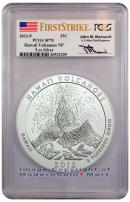 2012-P 5 Oz Silver America The Beautiful NQ3 Hawaii Volcanoes Signed by John M. Mercanti PCGS SP70 FS Specimen 70 First Strike