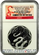 2013 Canada Proof Silver $15 Scallop Year of the Snake NGC PF69 ER Proof 69 Early Release Ultra Cameo  ***SNAKE LABEL***