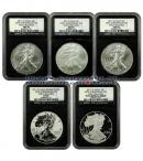 "2011 25th Anniversary Silver Eagle 5 Coin Set (A25) NGC PF70 ER and MS70 ER Early Releases ***BLACK CORE ""RETRO"" LIMITED EDITION HOLDER***"