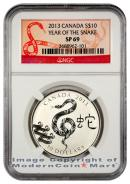 2013 Canada Silver Lunar Year of the Snake $10 NGC SP69 Specimen 69 ***SNAKE LABEL***