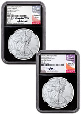 2-Piece Set - 2020-(P) 1 oz Silver American Eagle Struck at Philadelphia $1 Coins Scarce and Unique Coin Division NGC MS70 FDI Black Core Holder Mercanti / Jones Signed Labels