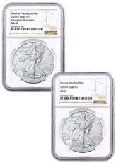 2-Piece Set - 2020-(P)(W) Struck at Philadelphia and West Point Silver Eagle NGC MS69 Brown Label