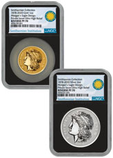 2pc - 2020 Smithsonian 1 oz Gold/2 oz Silver Morgan's Gold Eagle Scarce and Unique Coin Division UHR NGC PF70 Black Core Holder Wood Display Box