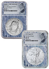2019 US Apollo 11 50th Anniversary $1 Coin + Silver Eagle 2-Coin Set NGC MS70 FDI Moon Core Holder Moon Label
