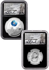 2019 Australia - U.S. Apollo 11 Moon Landing - 2-Piece Set Proof Coin NGC PF70 UC FR Black Core Holder Charlie Duke Signed Label