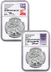 2pc - 2019-W Burnished American Silver Eagle NGC MS70 ER Mercanti-Jones Signed Labels
