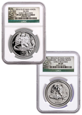 Set of 2 2016 Isle of Man Set of 2 - 1 oz Silver Angel Proof + Reverse Proof NGC PF69 ER (Angel Label)