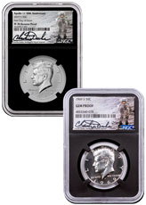 2-Piece Set - 2019-S Cupronickel Enhanced Reverse Proof Kennedy Half Dollar Set includes Silver Proof Kennedy Half Dollar NGC PF70 & Gem Proof Charlie Duke Signature