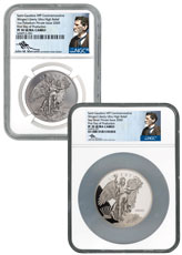 2-Piece Set - 2020 Winged Liberty Ultra High Relief Palladium & Silver Proof Scarce and Unique Coin Division NGC PF70 UC FDI Mercanti Signed Labels