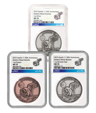 1969-2019 Apollo 11 50th Anniversary Robbins Medals 3-Coin Set Medal NGC MS70