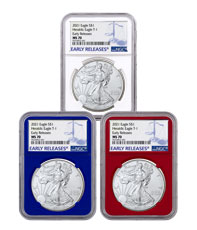 3-Piece Set - 2021 American Silver Eagle T-1 NGC MS70 ER Red, White & Blue Core Holder Early Releases Label