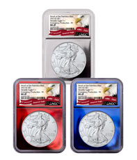3-Piece Set - 2021-(S) American Silver Eagle Emergency Production Struck at San Francisco Mint T-1 Patriotic Foil Core Set NGC MS69 FR Exclusive Eagle Red Banner Label