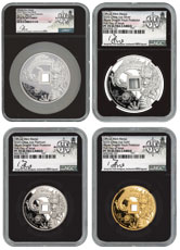 4pc Complete Set - 2020 1oz Gold/Slv/Plat + 5oz Silver Azure Dragon of the East Vault Protector Scarce and Unique Coin Division NGC PF70 UC FDI Song Fei Signed Labels