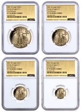 4-Coin Set - 2021-W Gold American Eagle T-1 Proof NGC PF70 UC FR Exclusive Gold Foil Label