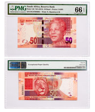 (2013) South Africa Reserve Bank 50 Rand Note - Pick #140 PMG Gem Unc 66 EPQ