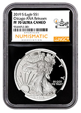 2019-S 1 oz Proof American Silver Eagle NGC PF70 UC Chicago ANA Show Releases Black Core Holder