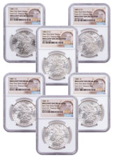 6-Coin Set - 1881-1889 Morgan Silver Dollar From the New York Bank Hoard NGC BU