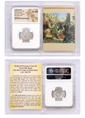 Tabaristan, Silver Hemidrachm of Umar (AD 771-780) - obv. Bust/rv. Fire Altar - Silk Road Hoard NGC Ch. MS (Story Vault)