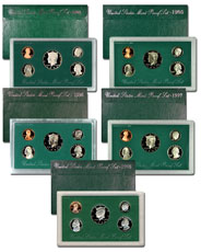 5-Piece Set - 1994-1998 U.S. Proof Coins Set Green Box Collection