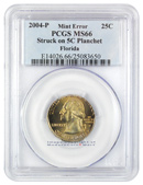 1996-P Mint Error Washington Statehood 25c Quarter (Florida) Struck on 5c Nickel Planchet PCGS MS66 Mint State 66