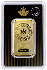 Royal Canadian Mint Logo 1 oz Gold Bar In Assay