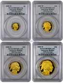 2008-W 4 Coin Gold Buffalo Set PCGS PR70 DCAM Proof 70 Deep Cameo