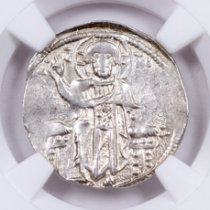 Byzantine Empire Silver Andronicus II Basilikon Portrait of Jesus Coin NGC XF Story Vault
