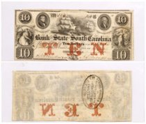 1861 $10 Obsolete Bank note - State of South Carolina Columbia F-VF