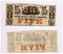 1861 $5 Obsolete Bank note - State of South Carolina Columbia F-VF
