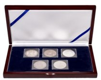 (18th-19th Centuries) World Trade Dollar Set of Five Coins - Austria, Mexico, French Indochina, Great Britain and United States Presentation Box