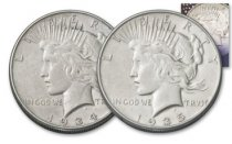 2-Piece Set - 1934 + 1935-P Silver Peace Dollar XF