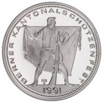 1991 Switzerland Shooting Festival Thaler - Langenthal Silver Proof Fr.50 Coin GEM Proof Original Mint Capsule