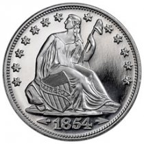 Highland Mint Seated Liberty Design 1 oz Silver Round GEM BU