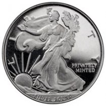 Money Metals 1 oz. Silver Round Walking Liberty BU