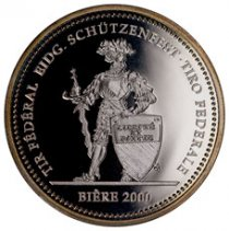 2000 Switzerland Shooting Festival Thaler - Biere Silver Proof Fr.50 Coin GEM Proof Original Mint Capsule