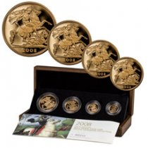 2008 Great Britain Gold Sovereign 4-Coin Proof Set GEM Proof (OGP)