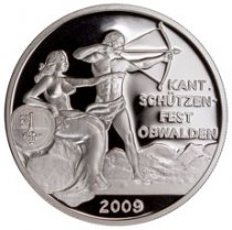 2009 Switzerland Shooting Festival Thaler - Obwalden Silver Proof Fr.50 GEM Proof Original Mint Capsule