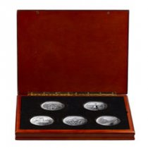 2011 5-Coin Set 5 oz. Silver America the Beautiful Coin GEM BU Display Box