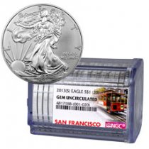 Certified Roll of 20 - 2013-(S) Silver Eagle Struck at San Francisco NGC GEM Uncirculated San Francisco Trolley Label