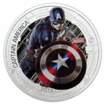 2015 Niue Marvel Avengers: Age of Ultron - Captain America 1 oz Silver Colorized Proof $2 GEM Proof